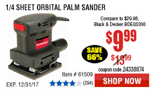 1/4 Sheet Orbital Palm Sander