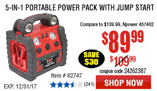 5-in-1 Portable Power Pack with Jump Start