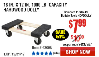 18 In. x 12 In. 1000 lb. Capacity Hardwood Dolly