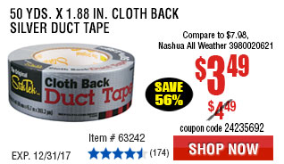 50 Yds. x 1.88 in. Cloth Back Silver Duct Tape
