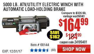 5000 lb. ATV/Utility Electric Winch with Automatic Load-Holding Brake