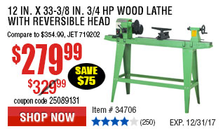 12 in. x 33-3/8 in. 3/4 HP Wood Lathe with Reversible Head