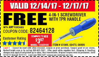 Free 4-in-1 Screwdriver with TPR Handle