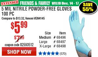 5 mil Nitrile Powder-Free Gloves 100 Pc Large