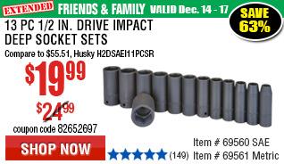 13 Pc 1/2 in. Drive SAE Impact Deep Socket Set