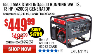 6500 Max Starting/5500 Running Watts, 13 HP  (420cc) Generator CARB  with GFCI Outlet Protection