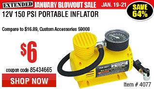 12V 150 PSI Portable Inflator