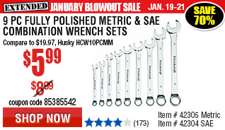 9 Pc Fully Polished Metric Combination Wrench Set