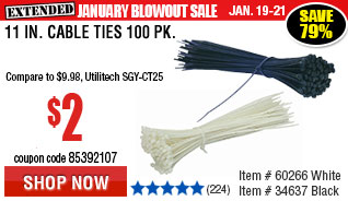 11 in. Cable Ties 100 Pk.