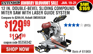 12 in. Double-Bevel Sliding Compound Miter Saw with Laser Guide System
