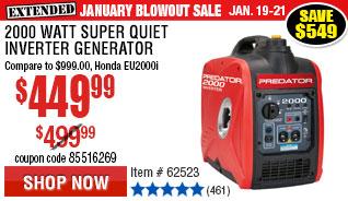 2000 Watt Super Quiet Inverter Generator