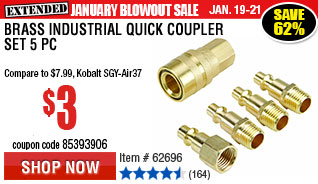 Brass Industrial Quick Coupler Set 5 Pc