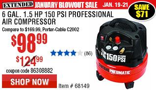 6 gal. 1.5 HP 150 PSI Professional Air Compressor