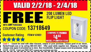 Harbor Freight Free Flip Light W Purchase Coupon Superbowl Weekend