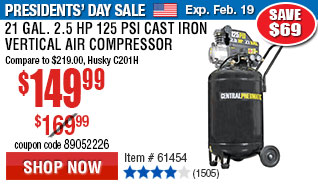 21 gal. 2-1/2 HP 125 PSI Cast Iron Vertical Air Compressor