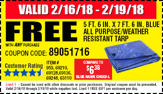 Harbor freight tools quality tools at discount prices since 1977 free 5 ft 6 in x 7 ft 6 in blue all fandeluxe Images