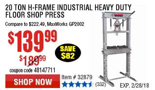 20 ton H-Frame Industrial Heavy Duty Floor Shop Press