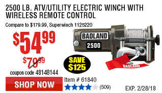 2500 lb. ATV/Utility Electric Winch with Wireless Remote Control