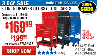 30 in. 5 Drawer Glossy Tool Cart