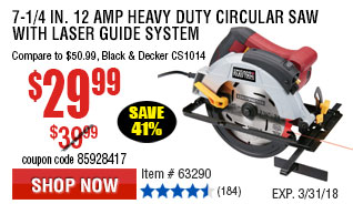 7-1/4 in. 12 Amp Heavy Duty Circular Saw With Laser Guide System