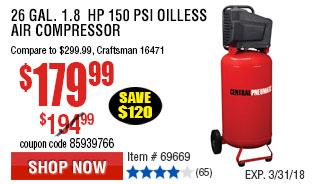 26 gal. 1.8  HP 150 PSI Oilless Air Compressor