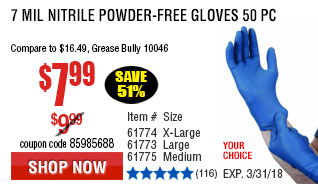 7 mil Nitrile Powder-Free Gloves 50 Pc X-Large