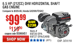 6.5 HP (212cc) OHV Horizontal Shaft Gas Engine EPA