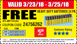Free AA Heavy Duty Batteries 24 Pk