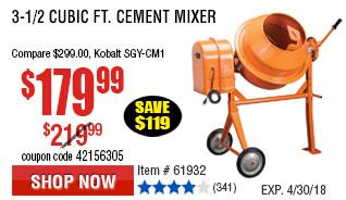 3-1/2 Cubic Ft. Cement Mixerk