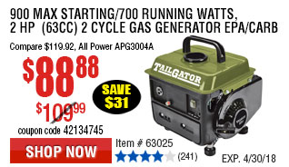 900 Max Starting/700 Running Watts, 2 HP  (63cc) 2 Cycle Gas Generator EPA/CARB