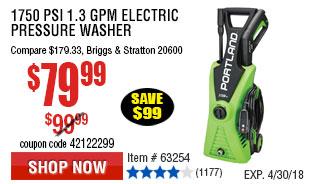 1750 PSI 1.3 GPM Electric Pressure Washer