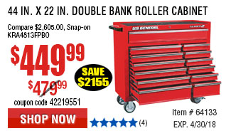 44 in. x 22 In. Double Bank Roller Cabinet