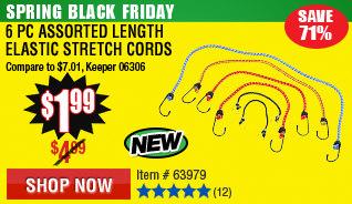 6 Pc Assorted Length Elastic Stretch Cords