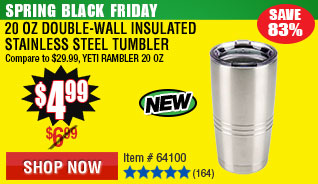 20 Oz Double-Wall Insulated Stainless Steel Tumbler
