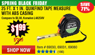 25 ft. x 1 in. QuikFind Tape Measure with ABS Casing