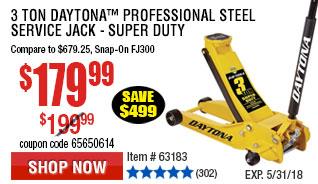 3 Ton Daytona™ Professional Steel Service Jack - Super Duty