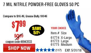 7 mil Nitrile Powder-Free Gloves 50 Pc X-Large