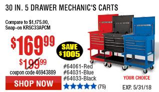 30 in. 5 Drawer 30 in. 5 Drawer Black Mechanic's Cart