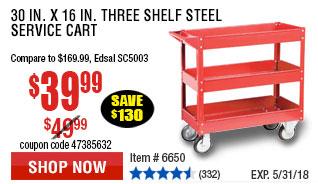 30 In. x 16 In. Three Shelf Steel Service Cart