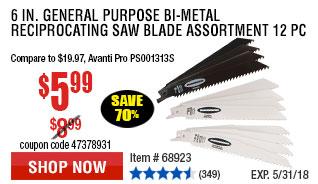6 in. General Purpose Bi-metal Reciprocating Saw Blade Assortment 12 Pc