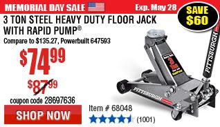 3 ton Steel Heavy Duty Floor Jack with Rapid Pump®