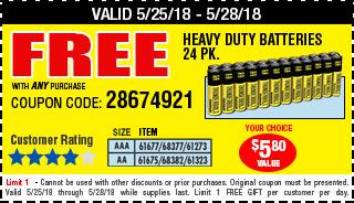 Free AA Heavy Duty Batteries 24 Pk