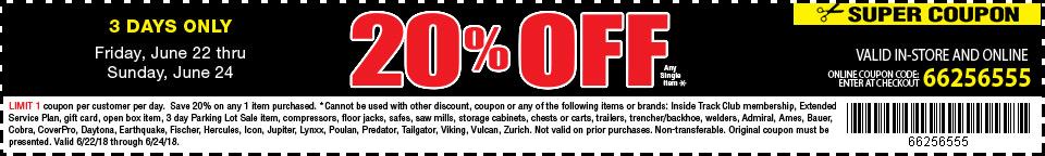 20% off any single item