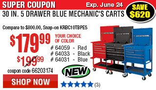 30 in. 5 Drawer Mechanic's Carts