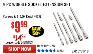 9 Pc Wobble Socket Extension Set