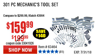 301 Pc Mechanic's Tool Set