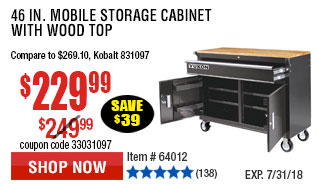 46 in. Mobile Storage Cabinet with Wood Top