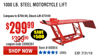 1000 lb. Steel Motorcycle Lift