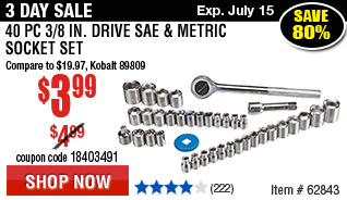 40 Pc 3/8 in. Drive SAE & Metric Socket Set