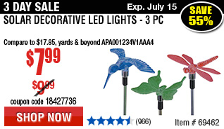 Solar Decorative LED Lights - 3 Pc